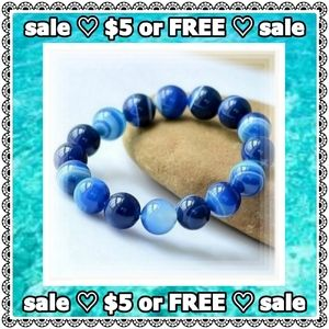 Jewelry - 💟 SALE 💟 Natural blue agate bracelet, 6mm beads